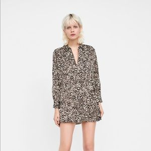 Zara leopard animal print shirt dress